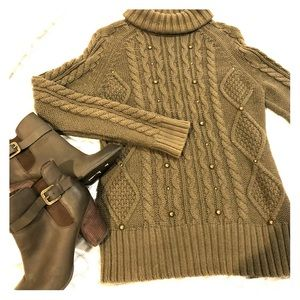 Olive green Fall sweater